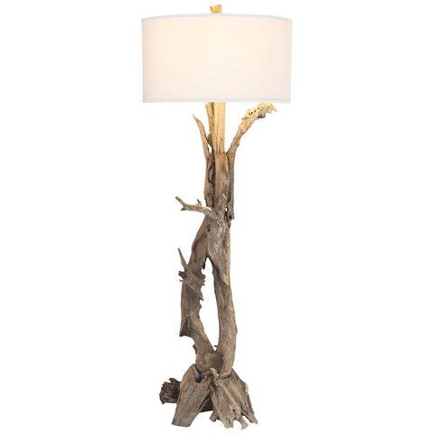 Hounslow Heath 1-Light Floor Lamp in Natural Teak Root