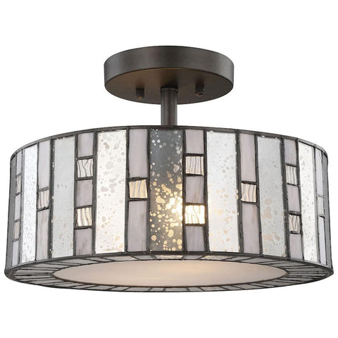 Ethan 2-Light Tiffany Bronze Semi Flush with Mercury Gray Clear Rippled Glass