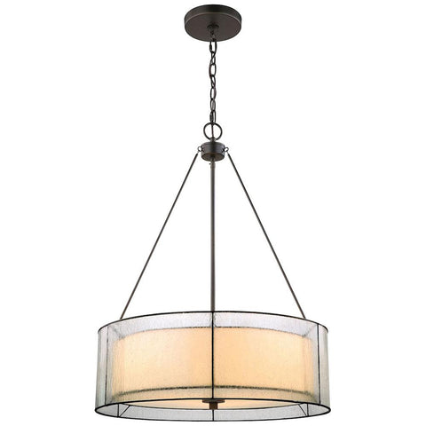 Mirage 3-Light Tiffany Bronze Chandelier with Off-White Art Glass, Seedy Glass