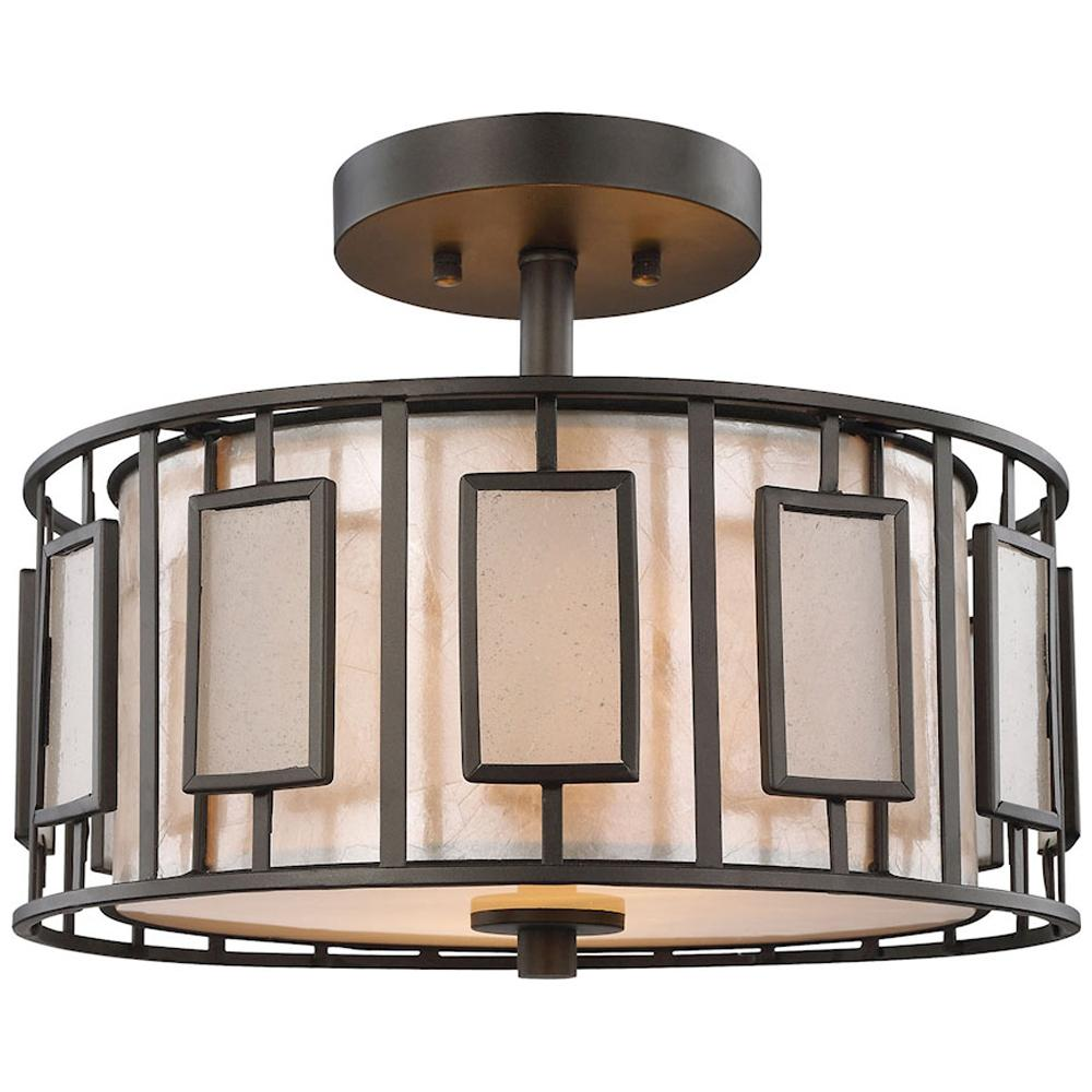 Minden 2-Light Semi Flush in Tiffany Bronze With Mica and Frosted Seedy Glass
