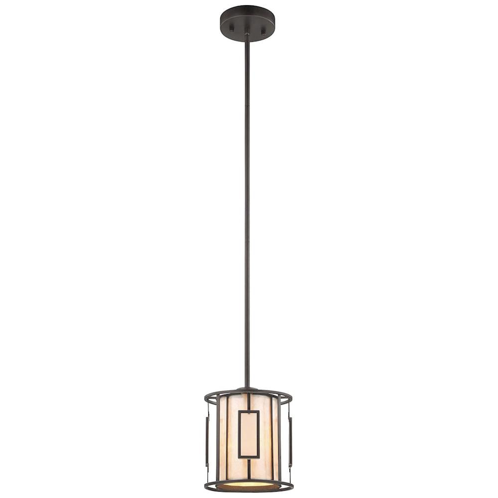 Minden 1-Light Pendant in Tiffany Bronze With Mica and Frosted Seedy Glass