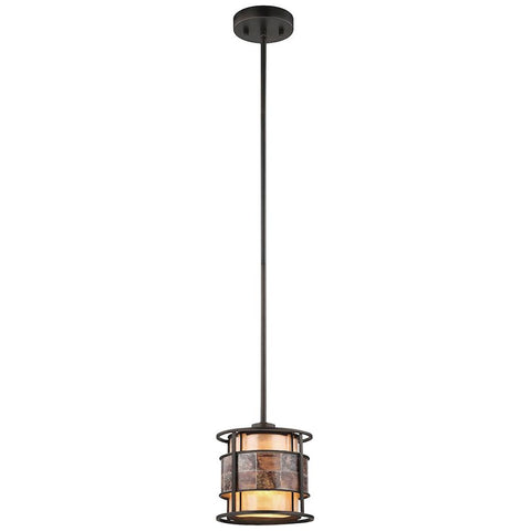 Tremont 1-Light Pendant in Tiffany Bronze With Tan and Brown Mica