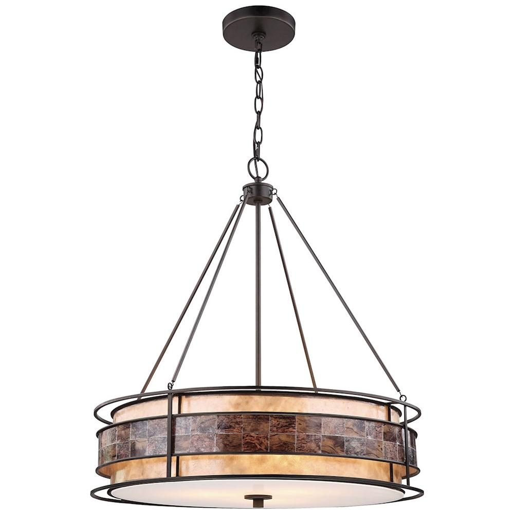 Tremont 3-Light Tiffany Bronze Chandelier With Tan and Brown Mica