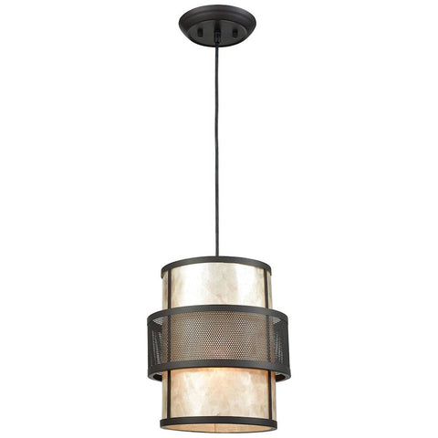 Beckley 1-Light Pendant in Oil Rubbed Bronze with Tan Mica