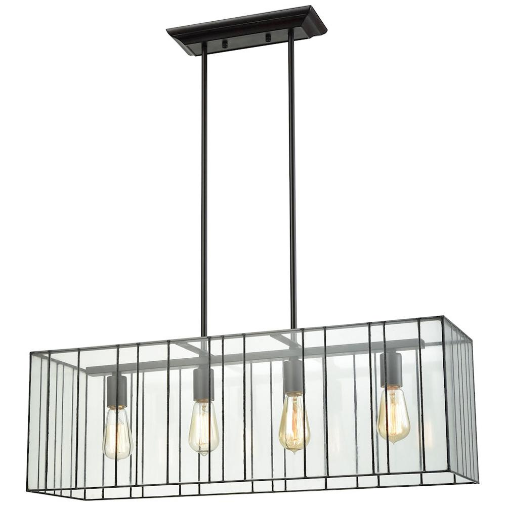 Lucian 4-Light Chandelier in Oil Rubbed Bronze with Clear Glass