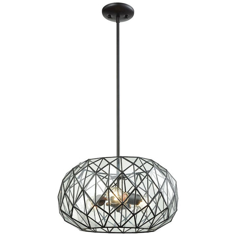 Tetra 3-Light Chandelier in Oil Rubbed Bronze with Clear Glass