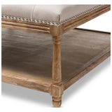 Baxton Studio Carlotta French Country Linen Square Coffee Table Ottoman