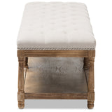 Baxton Studio Celeste French Country Linen Upholstered Ottoman Bench