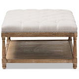 Baxton Studio Carlotta French Country Linen Rectangular Coffee Table Ottoman