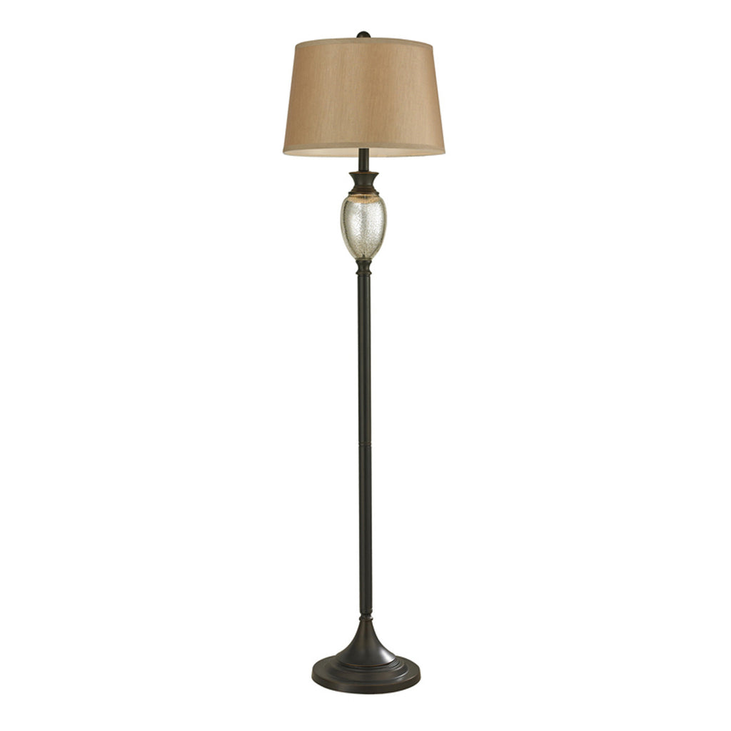 1-Light Floor Lamp in Antique Mercury Glass with Bronze