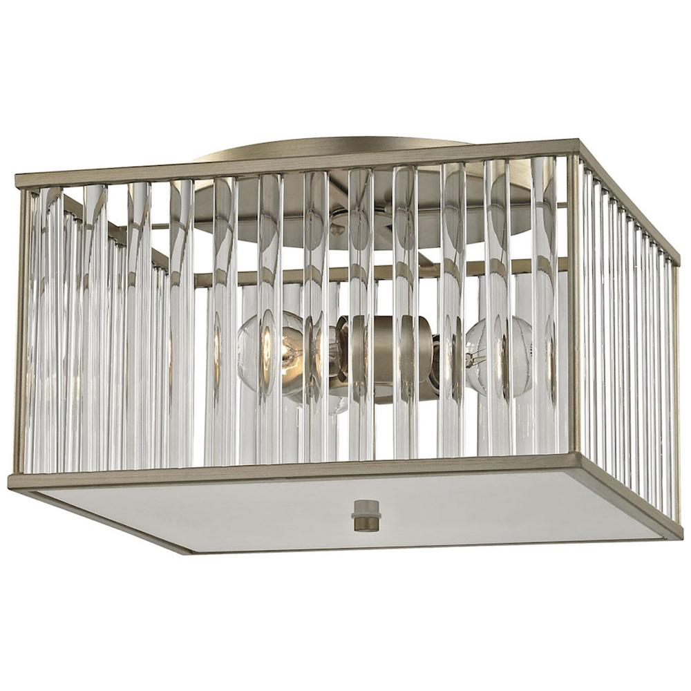 Ridley 3-Light Semi Flush in Aged Silver With Oval Glass Rods