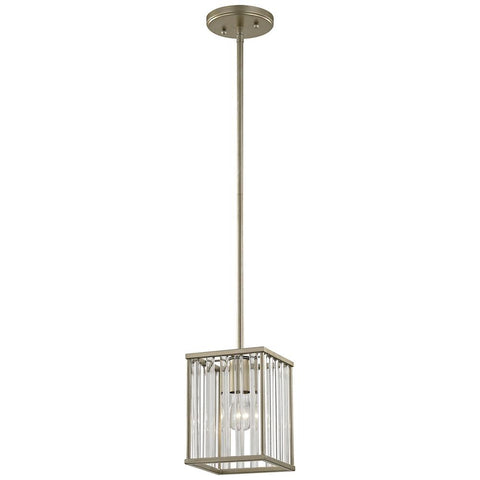 Ridley 1-Light Pendant in Aged Silver With Oval Glass Rods