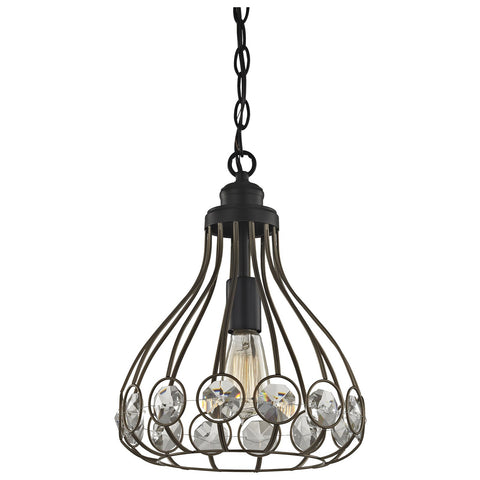 Crystal Web 1-Light Mini Pendant in Bronze and Matte Black