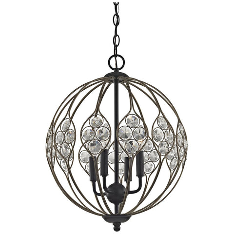 Crystal Web 4-Light Chandelier in Bronze Gold and Matte Black with Clear Crystal