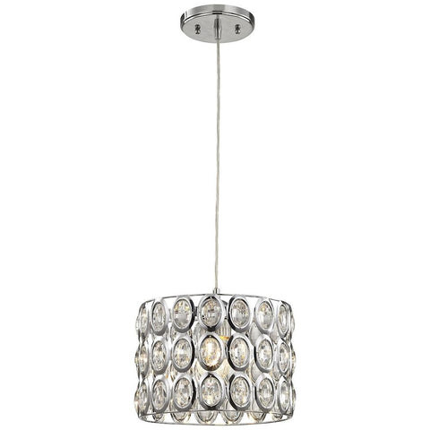 Tessa 1-Light Pendant in Polished Chrome With Clear Crystal