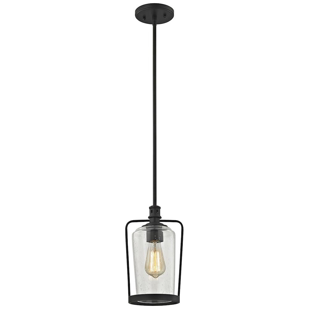Hamel 1-Light Pendant in Oil Rubbed Bronze with Clear Seedy Glass