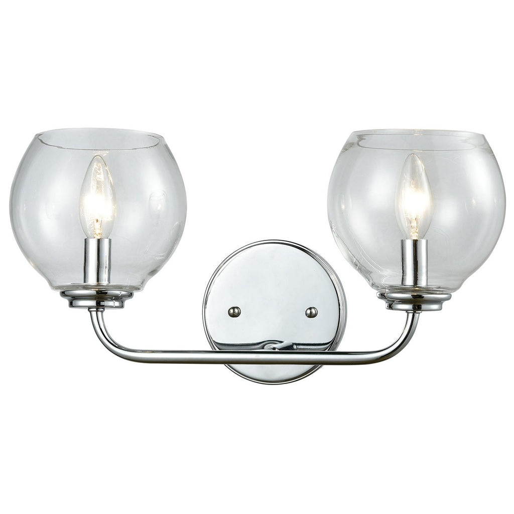 Emory 2-Light Vanity Lamp in Polished Chrome with Clear Blown Glass