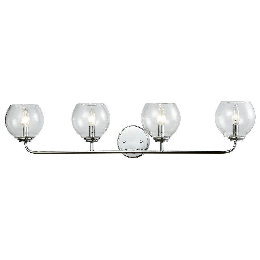 Emory 4-Light Vanity Lamp in Polished Chrome with Clear Blown Glass