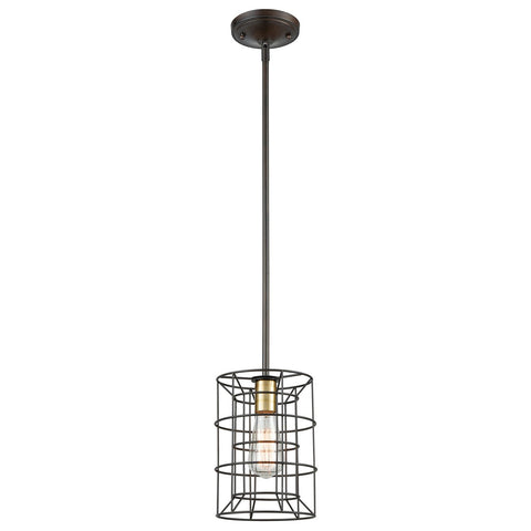 Dayton 1-Light Mini Pendant in Oil Rubbed Bronze and Satin Brass