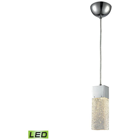 Cubic Ice 1-Light Pendant in Polished Chrome with Solid Textured Glass