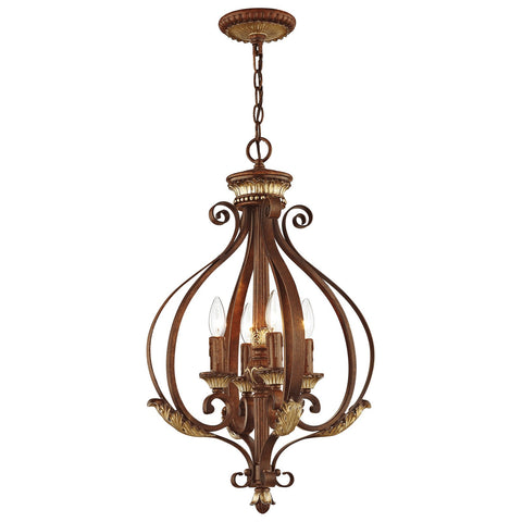 Villa Verona 4-Light Verona Bronze with Aged Gold Leaf Accents Foyer
