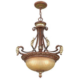 Villa Verona 3-Light Verona Bronze with Aged Gold Leaf Accents Inverted Pendant
