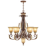 Villa Verona 6-Light Verona Bronze with Aged Gold Leaf Accents Chandelier