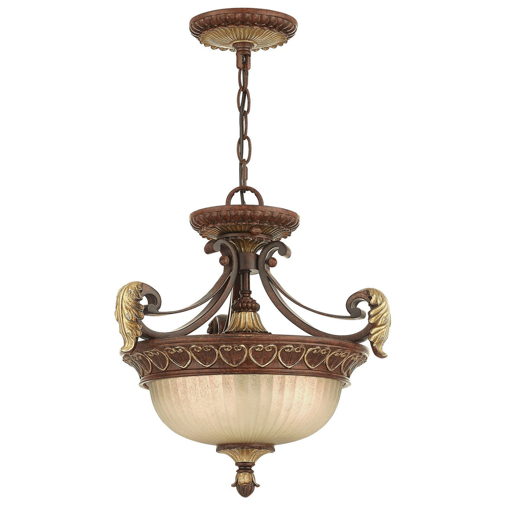 Villa Verona 2-Light Verona Bronze with Aged Gold Leaf Accents Convertible Chain Hang/Ceiling Mount