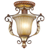 Villa Verona 1-Light Verona Bronze with Aged Gold Leaf Accents Ceiling Mount