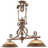 Villa Verona 2-Light Verona Bronze with Aged Gold Leaf Accents Island