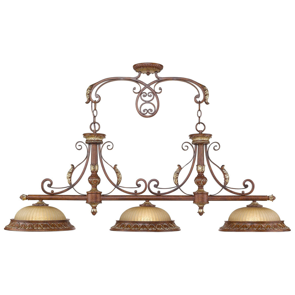 Villa Verona 3-Light Verona Bronze with Aged Gold Leaf Accents Island