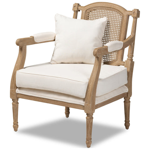 Baxton Studio Clemence French Provincial Ivory Fabric Whitewashed Wood Armchair