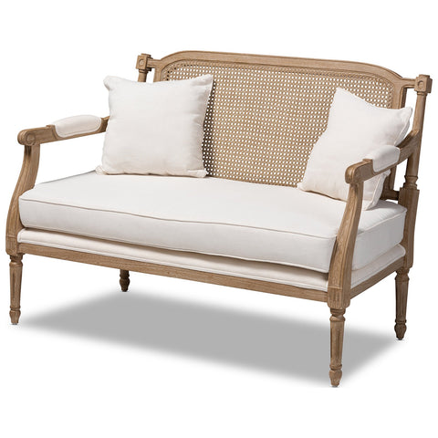 Baxton Studio Clemence French Provincial Ivory Fabric Whitewashed Wood Loveseat