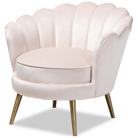 Baxton Studio Cosette Glam and Luxe Velvet Brushed Gold Accent Chair