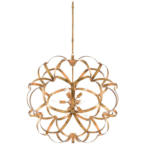 Sappho Orb Chandelier in New Gold Leaf