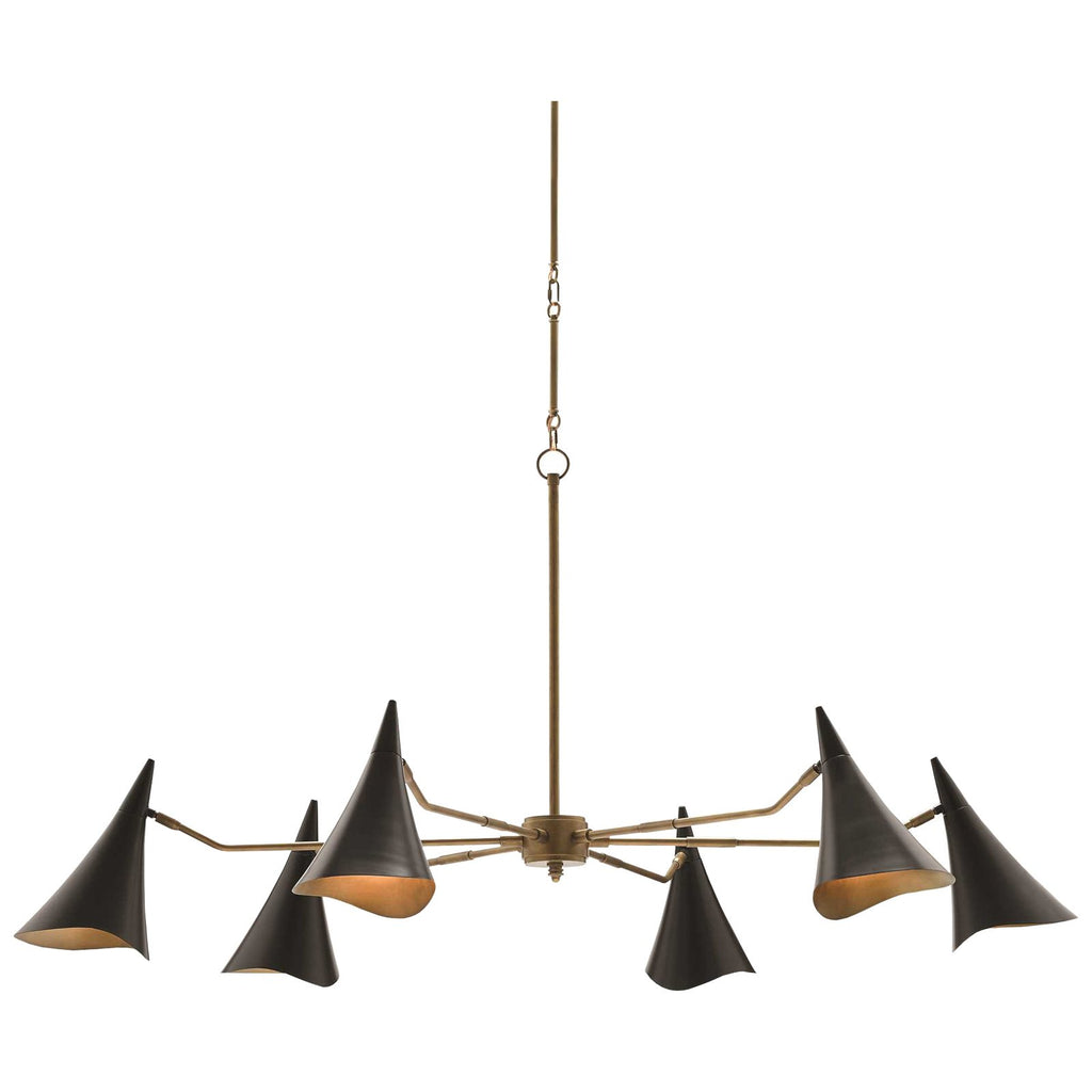 Library Chandelier in Oil Rubbed Bronze and Antique Brass