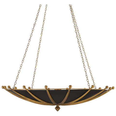 Fontaine Chandelier in Antique Gold Leaf and Satin Black
