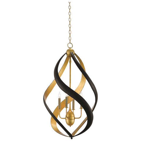 Trephine Chandelier in Contemporary Gold Leaf and Satin Black