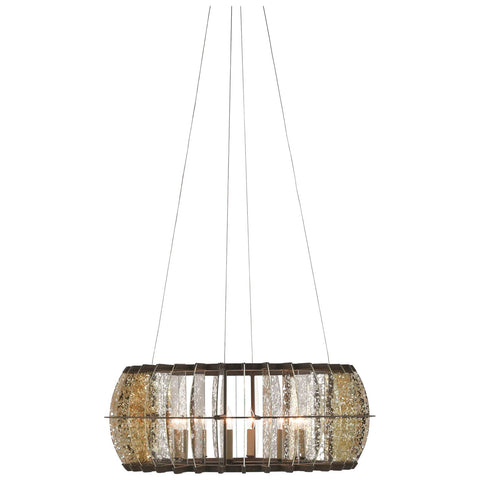 Zanzibar Round Chandelier in Light Bronze Gold and Raj Mirror