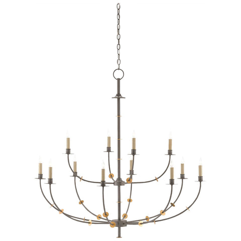 Balladier Chandelier in Hiroshi Gray and Contemporary Gold Leaf