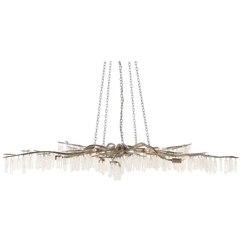 Forest Light Chandelier in Textured Silver and Natural