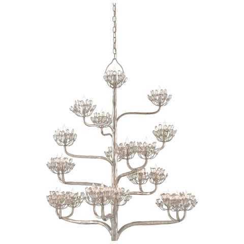Agave Americana Chandelier in Contemporary Silver Leaf
