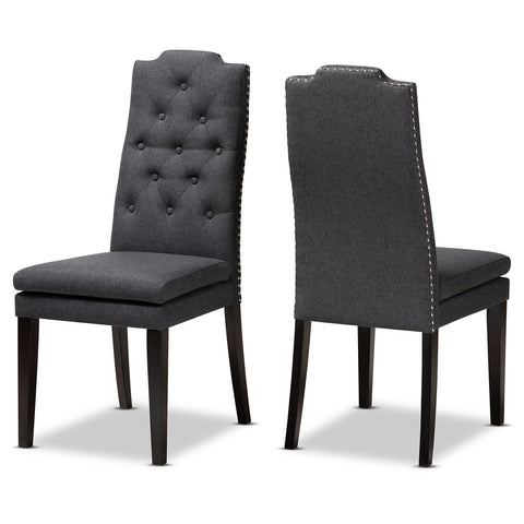 Baxton Studio Dylin Fabric Upholstered Button Tufted Wood Dining Chair