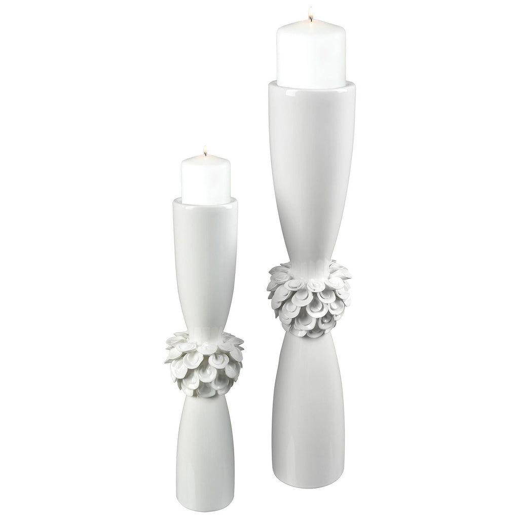 Tranquillo Candle Holder in Gloss White, Set of 2