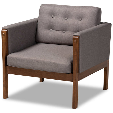 Baxton Studio Lenne Grey Fabric Upholstered Walnut Armchair