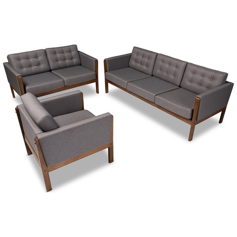 Baxton Studio Lenne Grey Fabric Walnut 3-Piece Living Room Set