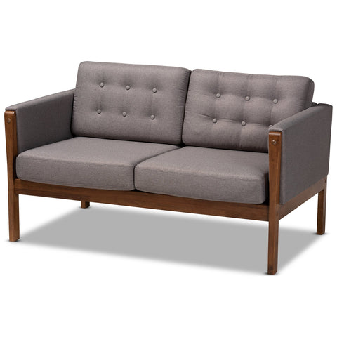 Baxton Studio Lenne Grey Fabric Upholstered Walnut Loveseat