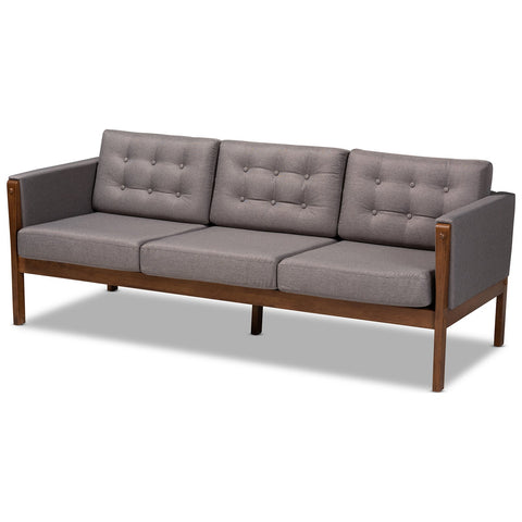 Baxton Studio Lenne Grey Fabric Upholstered Walnut Sofa