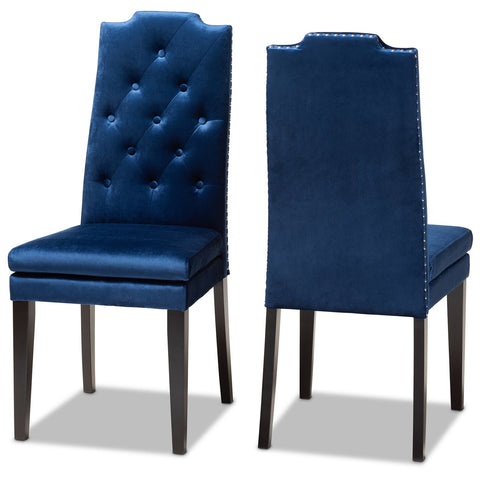 Baxton Studio Dylin Navy Blue Velvet Upholstered Button Tufted Wood Dining Chair