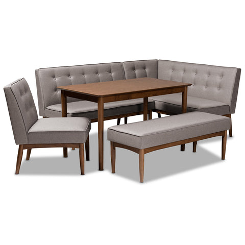 Baxton Studio Arvid Gray Fabric Upholstered 5-Piece Wood Dining Nook Set